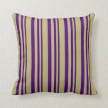 [ Thumbnail: Indigo and Dark Khaki Pattern Throw Pillow ]