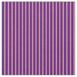 [ Thumbnail: Indigo and Dark Salmon Lines/Stripes Pattern Fabric ]