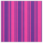 [ Thumbnail: Indigo and Deep Pink Colored Stripes Pattern Fabric ]