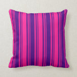 [ Thumbnail: Indigo and Deep Pink Colored Stripes Pattern Throw Pillow ]