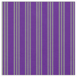 [ Thumbnail: Indigo and Grey Striped Pattern Fabric ]