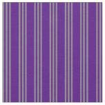 [ Thumbnail: Indigo and Grey Striped Pattern Fabric ]