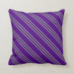 [ Thumbnail: Indigo and Grey Striped Pattern Throw Pillow ]