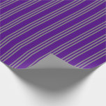 [ Thumbnail: Indigo and Grey Striped Pattern Wrapping Paper ]