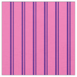 [ Thumbnail: Indigo and Hot Pink Lined Pattern Fabric ]