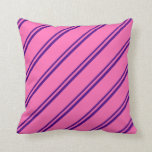 [ Thumbnail: Indigo and Hot Pink Lined Pattern Throw Pillow ]