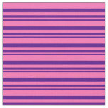 [ Thumbnail: Indigo and Hot Pink Striped Pattern Fabric ]