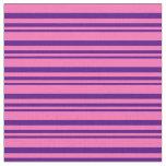[ Thumbnail: Indigo and Hot Pink Striped Pattern Fabric ]