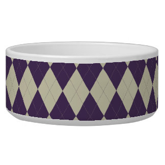 Indigo and Ivory Argyle Pet Bowl