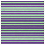 [ Thumbnail: Indigo and Light Green Stripes Pattern Fabric ]