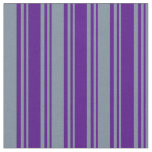 [ Thumbnail: Indigo and Light Slate Gray Colored Stripes Fabric ]