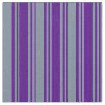 [ Thumbnail: Indigo and Light Slate Gray Colored Stripes Fabric ]