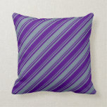 [ Thumbnail: Indigo and Light Slate Gray Colored Stripes Pillow ]