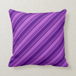 [ Thumbnail: Indigo and Orchid Colored Pattern of Stripes Throw Pillow ]