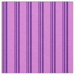 [ Thumbnail: Indigo and Orchid Striped Pattern Fabric ]