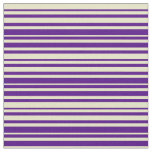 [ Thumbnail: Indigo and Pale Goldenrod Colored Stripes Pattern Fabric ]