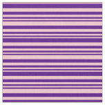 [ Thumbnail: Indigo and Pink Colored Lined Pattern Fabric ]