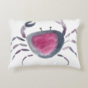 Indigo and Pink Crab Accent Pillow
