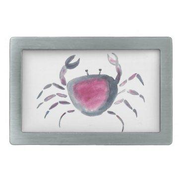 Beach Themed Indigo and Pink Crab Belt Buckle