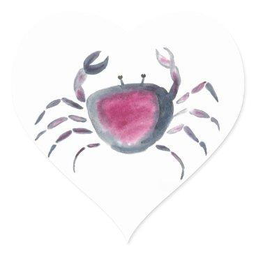 Beach Themed Indigo and Pink Crab Heart Sticker