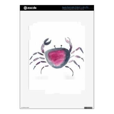 Beach Themed Indigo and Pink Crab iPad 3 Decal