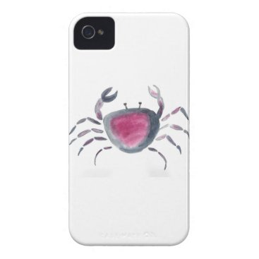 Beach Themed Indigo and Pink Crab iPhone 4 Case