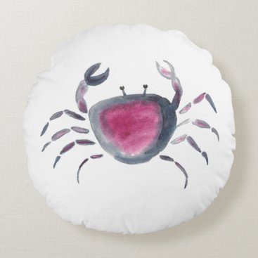 Indigo and Pink Crab Round Pillow