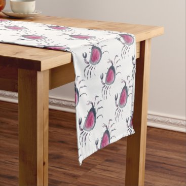 Indigo and Pink Crab Short Table Runner