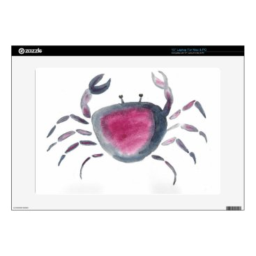Beach Themed Indigo and Pink Crab Skin For Laptop