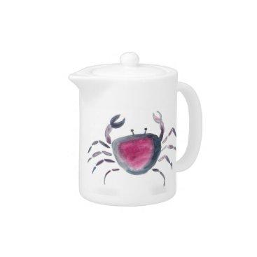 Beach Themed Indigo and Pink Crab Teapot