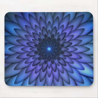 Indigo and Purple Abstract Flower Art Mouse Pad
