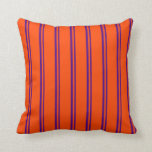 [ Thumbnail: Indigo and Red Stripes/Lines Pattern Throw Pillow ]