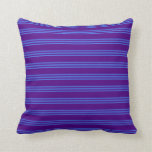 [ Thumbnail: Indigo and Royal Blue Pattern of Stripes Pillow ]