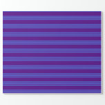 [ Thumbnail: Indigo and Royal Blue Pattern of Stripes Wrapping Paper ]