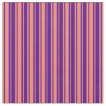 [ Thumbnail: Indigo and Salmon Colored Striped/Lined Pattern Fabric ]