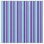 [ Thumbnail: Indigo and Sky Blue Pattern of Stripes Fabric ]