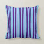 [ Thumbnail: Indigo and Sky Blue Pattern of Stripes Pillow ]