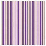 [ Thumbnail: Indigo and Tan Colored Stripes Fabric ]