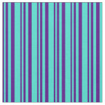 [ Thumbnail: Indigo and Turquoise Lines Pattern Fabric ]