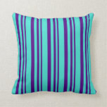 [ Thumbnail: Indigo and Turquoise Lines Pattern Throw Pillow ]