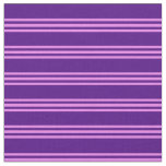 [ Thumbnail: Indigo and Violet Lined Pattern Fabric ]