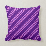 [ Thumbnail: Indigo and Violet Lined Pattern Throw Pillow ]