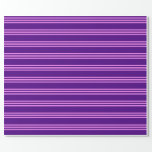[ Thumbnail: Indigo and Violet Lined Pattern Wrapping Paper ]
