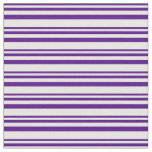 [ Thumbnail: Indigo and White Lines Pattern Fabric ]