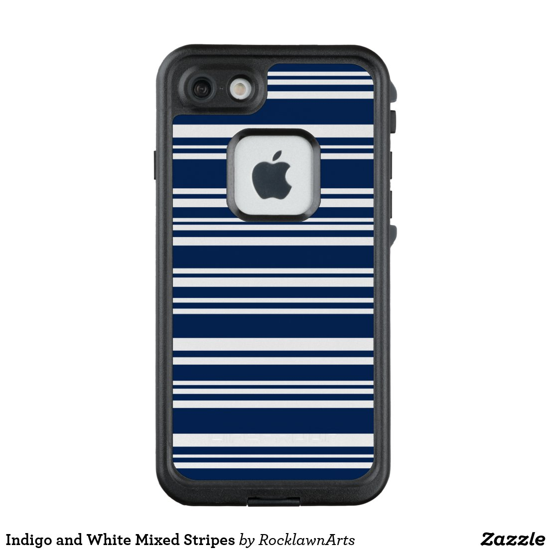 Indigo and White Mixed Stripes LifeProof FRĒ iPhone 7 Case