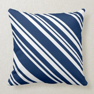 Indigo and White Modern Stripe Pillow