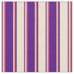 [ Thumbnail: Indigo, Beige, and Red Colored Striped Pattern Fabric ]