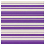 [ Thumbnail: Indigo & Bisque Colored Stripes Pattern Fabric ]