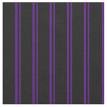 [ Thumbnail: Indigo & Black Stripes Fabric ]