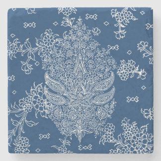 Indigo Blue and Crisp White Paisley Pattern Stone Coaster